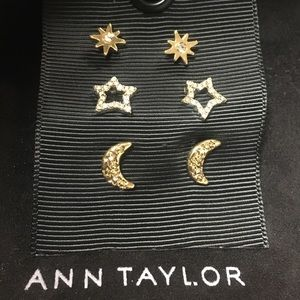 NEW! Ann Taylor Gold Moon & Star Earring Set